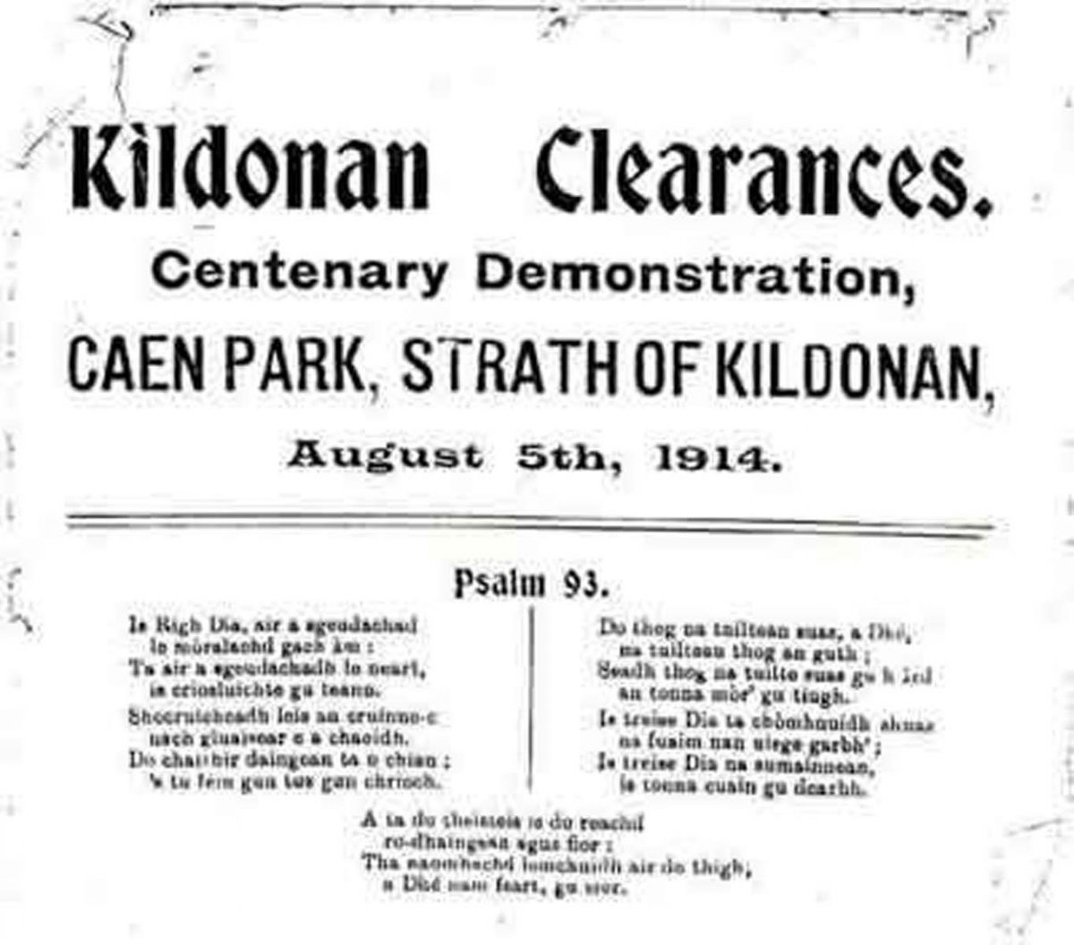 "Order of Service for the ""Kildonan Clearances Centenary Demonstration"" at Caen Park, Strath of Kildonan, 5 August 1914.