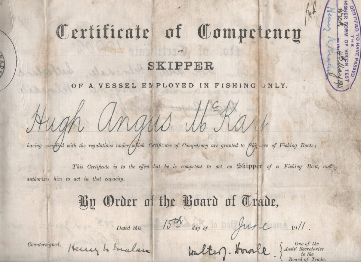 Certificate of Competency as Skipper of a vessel employed in the Fishing Industry awarded to Hugh Angus McKay, Shore Street, Helmsdale, 4th May 1911.