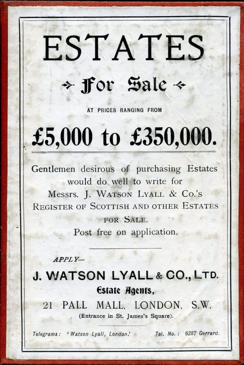 Advertisement for estate land for sale in Scotland.