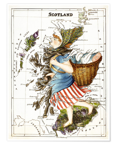 Satirical illustration of Scotland as a woman carrying a creel of fish, by Lilian Lancaster, 1852-1939.
