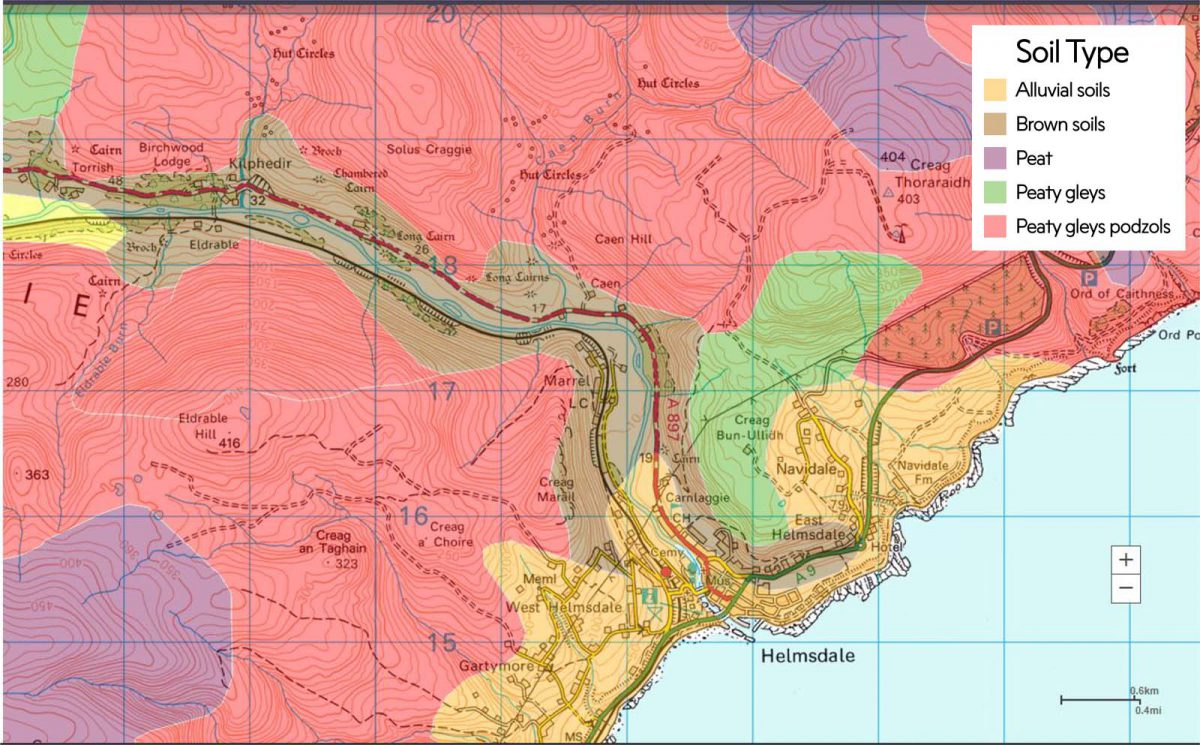 Soil Map of Kildonan and Helmsdale, 2016